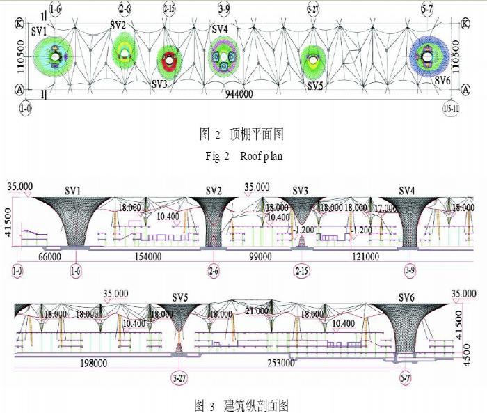 顶棚结构平面图,建筑剖面图见图2,3,4.