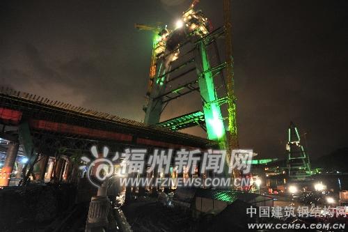 淮安大桥北岸主塔横梁完成浇筑年底前贯通