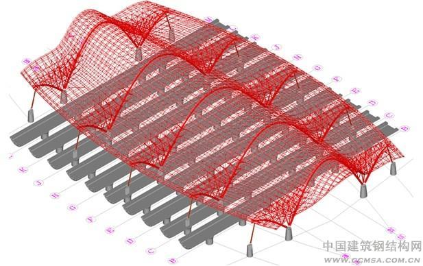 [摘 要]: 武汉火车站钢结构包括中央站房结构、楼面结构、雨棚结构和附属结构。中央站房部分为武汉站施工最为复杂的区域,在有限的空间与时间的前提下,采用了桁架散件与片状结合安装技术,实现了中央站房的高质与快速施工。 [关键词]:大型滑移胎架 吊装单元划分 1 工程概况  图1 武汉站三维示意图 中央站房由五个主拱作为支撑,截面为椭圆变截面钢管,单拱最大跨度116m,最大拱顶中心标高为58.