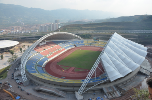 重庆北碚缙云文化体育场管桁架施工技术及膜结构屋面简介
