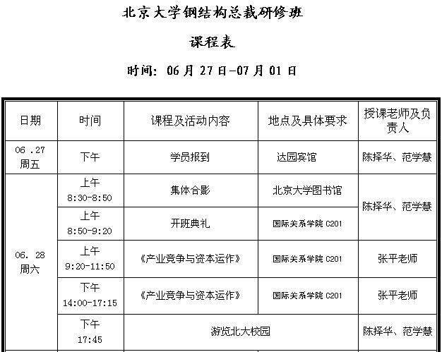 北京大学钢结构总裁研修班课程表