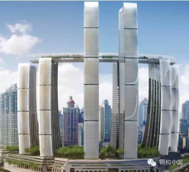 水晶连廊长度300米,离地约250米,由公众观景台、无边泳池、顶级会所和各式餐饮娱乐设施组成,两端各有17米悬空挑出塔楼之外,面积将超过10,000平方米。水晶连廊与楼宇的连接处,将采用目前世界最先进的摩擦摆支座和粘滞阻尼器相结合的减隔震技术。重庆凯德古渝雄关置业有限公司相关负责人称,这样的设计,能使建筑物在发生剧烈地震时,有一定的晃动空间,耗散地震产生的巨大能量,也可以提供一定的自我复位能力。 由水晶连廊串联各栋高楼,是项目工程的最大难点。水晶连廊为钢结构,以这种方式连结几座塔楼的时候,结构设计和施工