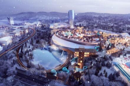 中建钢构湘江欢乐城冰雪世界项目钢结构主桁架提升顺利完成