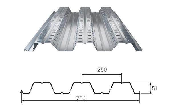 楼承板YX51-250-750规格参数--中构新材