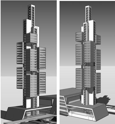 图2 典型标准层结构平面图(贵阳201大厦钢结构设计) 2