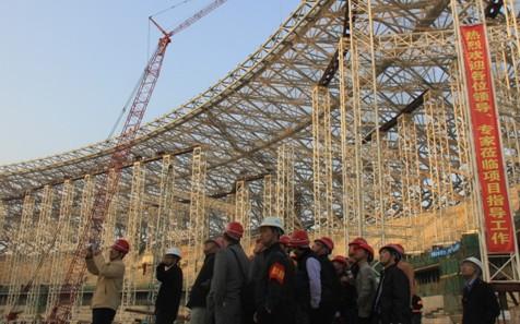 中建钢构福州奥体项目举行钢结构卸载观摩交流会