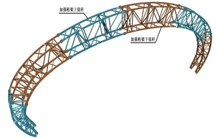 单榀加强桁架轴测图